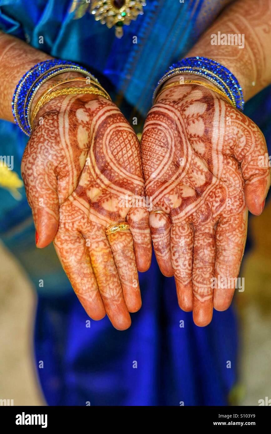 Tradizioni indiane - Mehndi Immagini Stock
