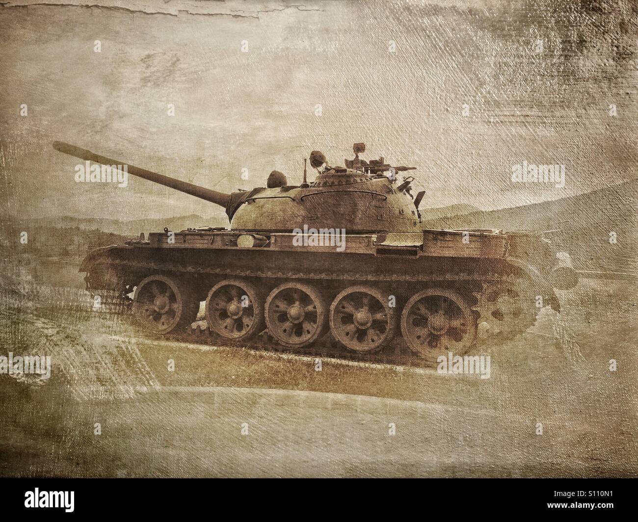 T-55 serbatoio sul display in Parco di storia militare in Pivka, Slovenia Immagini Stock