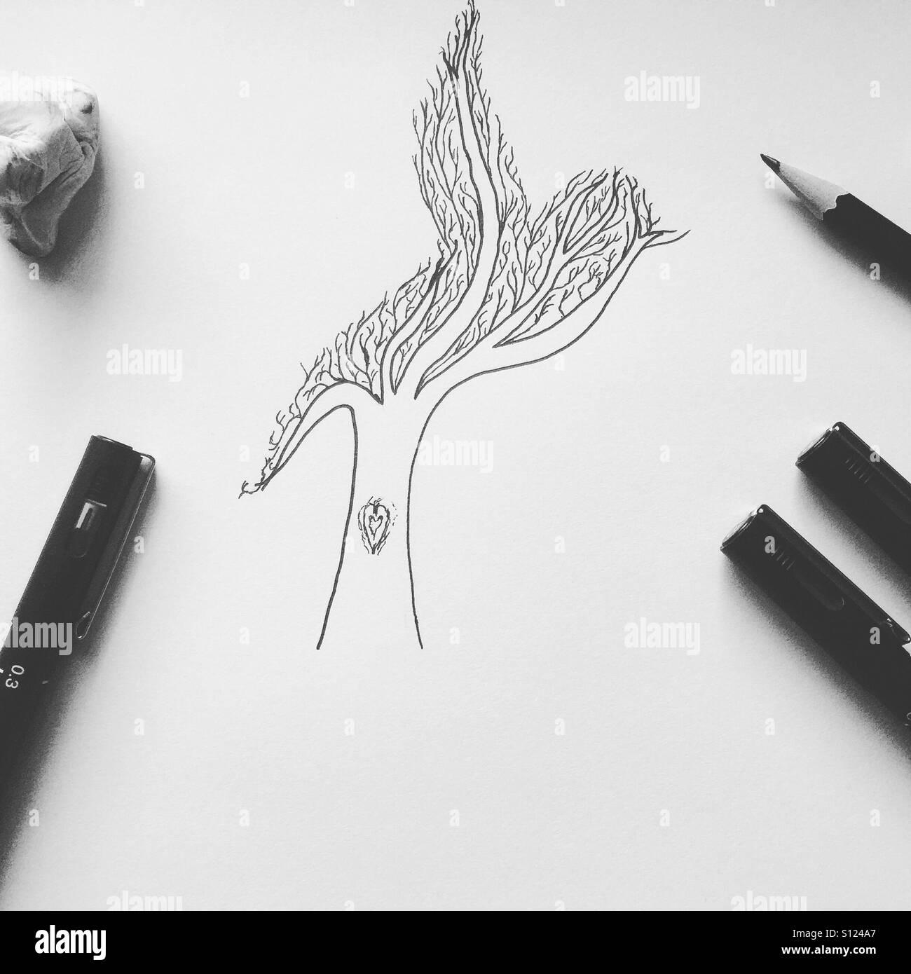 Disegnata a mano albero nella forma di un uccello Immagini Stock