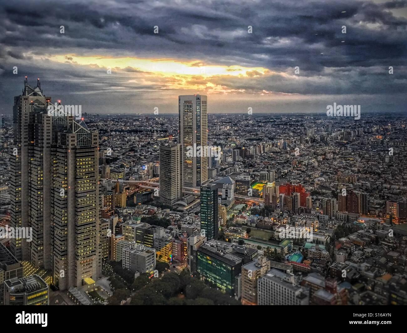 Vista su tutta la città di Tokyo al tramonto Immagini Stock