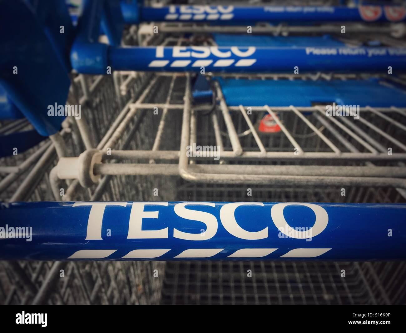 Una fila di supermercato Tesco, carrelli che mostra chiaramente il marchio Tesco nome sul carrello gestisce Immagini Stock