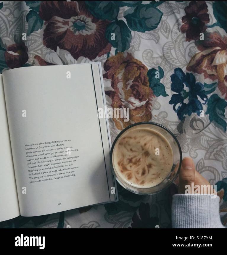 Un libro e cioccolata calda è la miscela perfetta☕️📔 Foto Stock