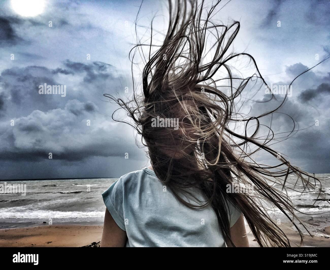 Giorno di capelli selvaggi. Foto Stock