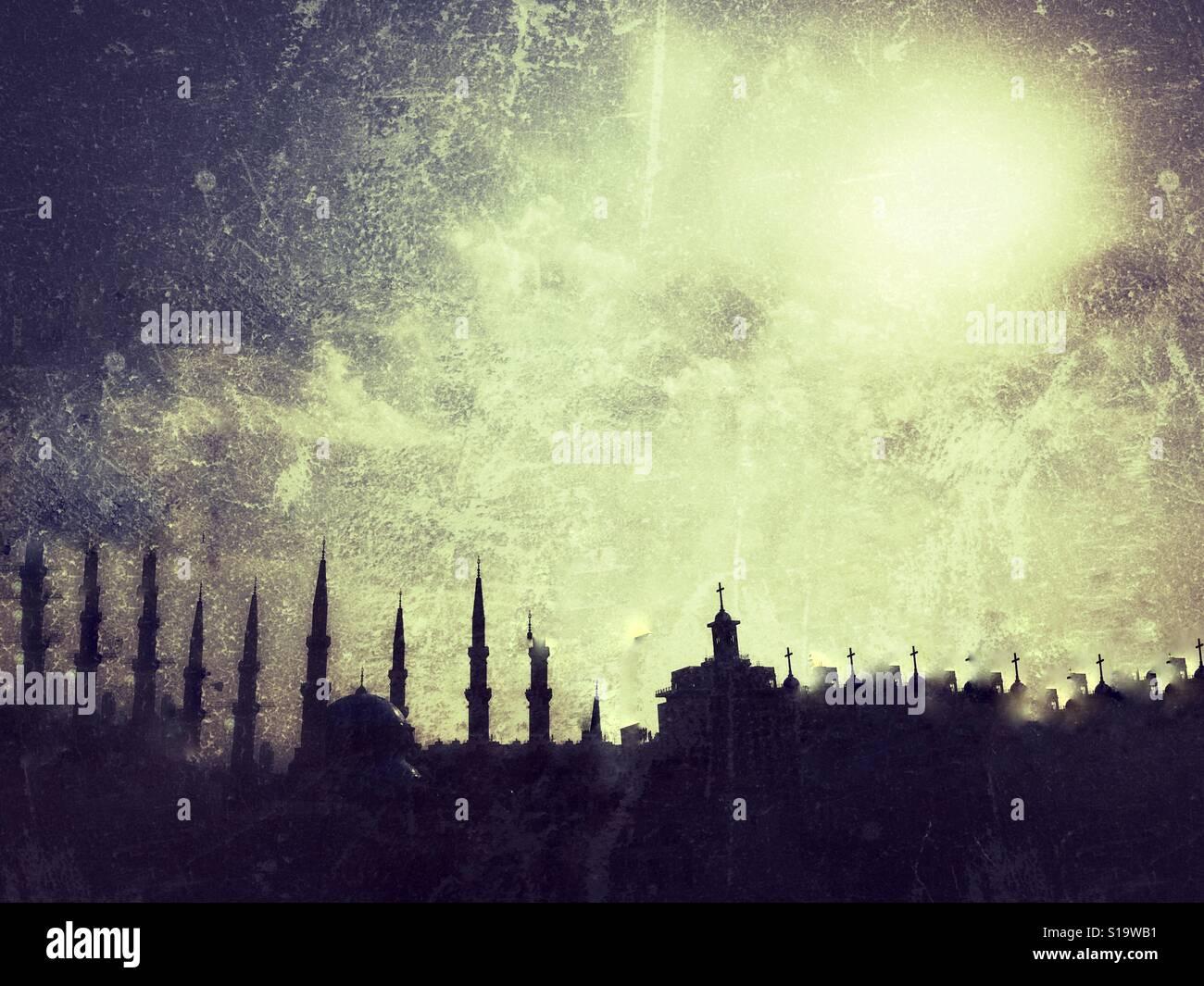 Islam e Cristianesimo Immagini Stock