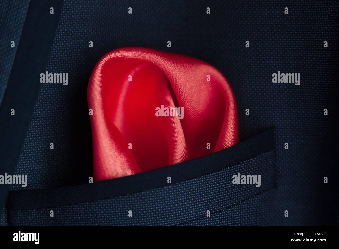 Hankie Pocket Square fazzoletto blu scuro con pin dot /& Cross