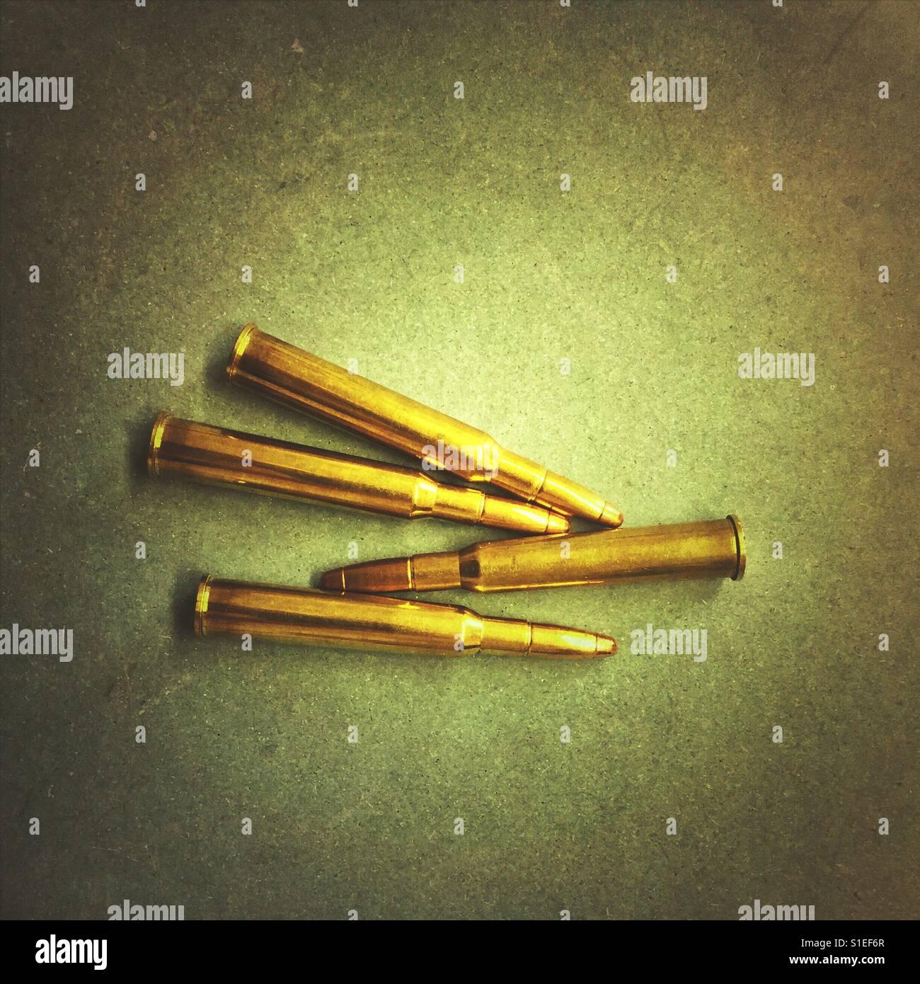 I proiettili per fucile da caccia Immagini Stock