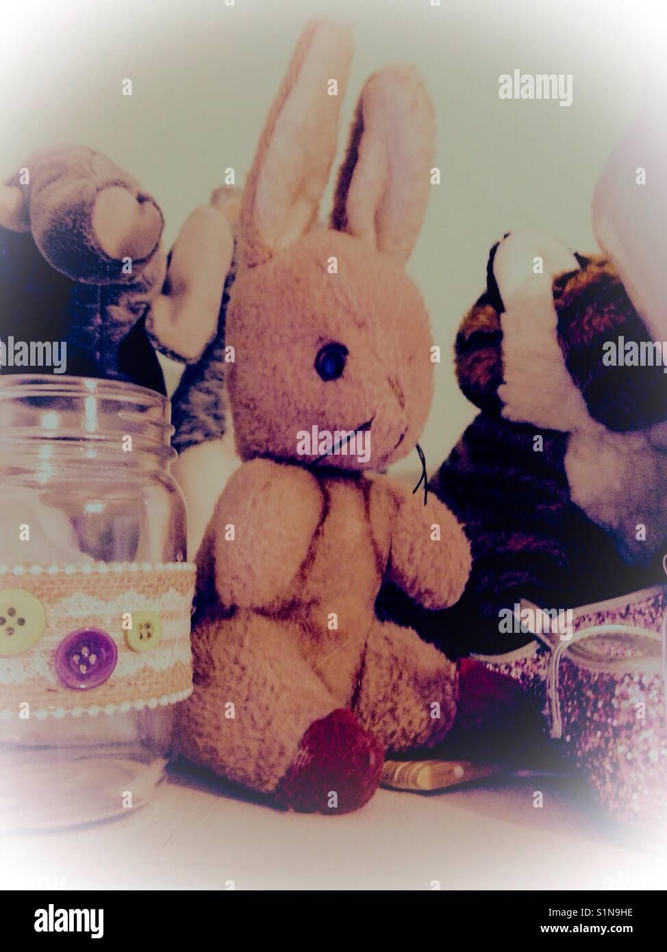 Lovies- bunny, tigre, e scarpe scintillanti sono tra bimbo a tesori Immagini Stock