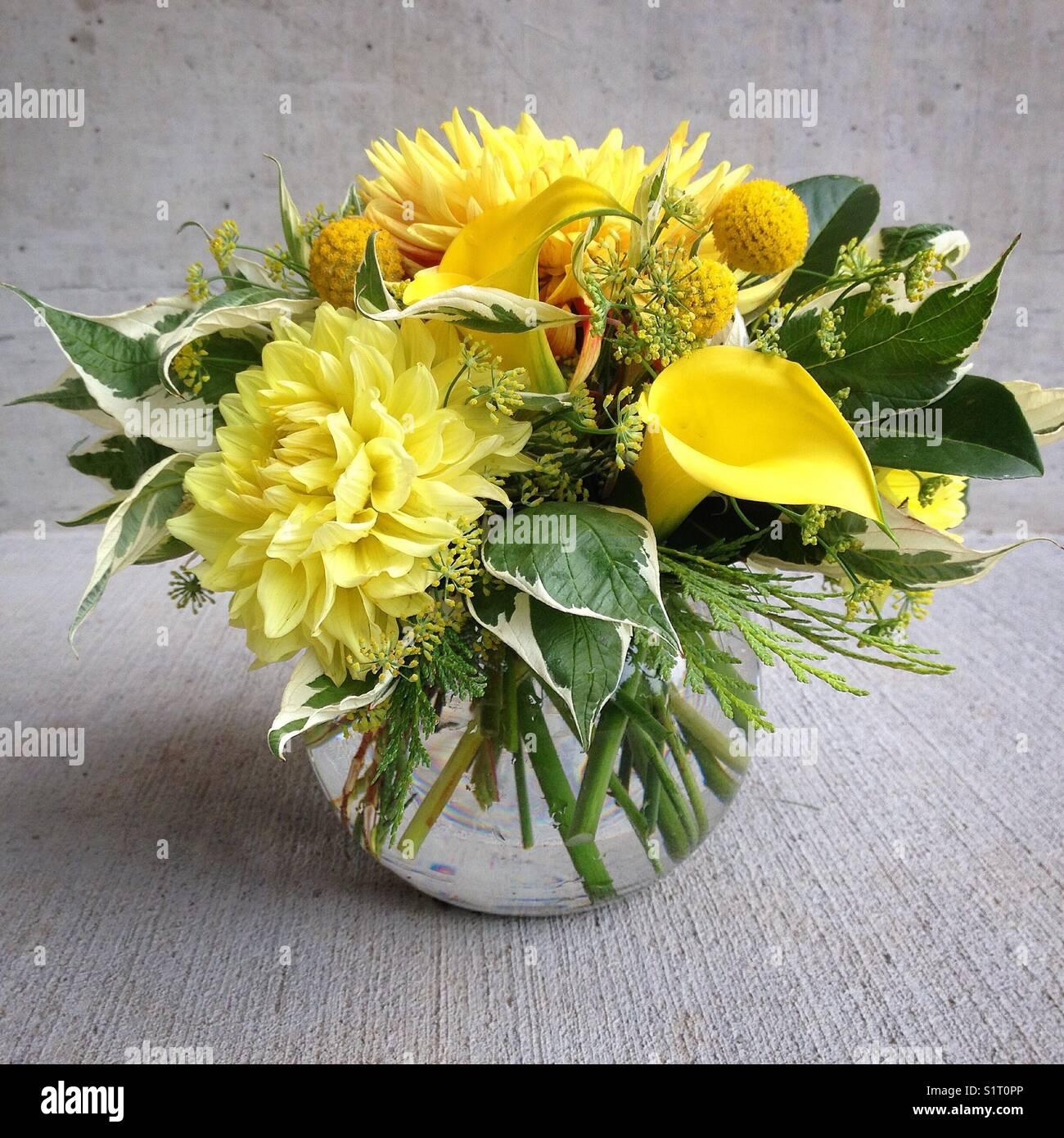 Fiori Gialli Rotondi.Fiore Giallo Disposizione In Vaso Rotondo Foto Immagine Stock