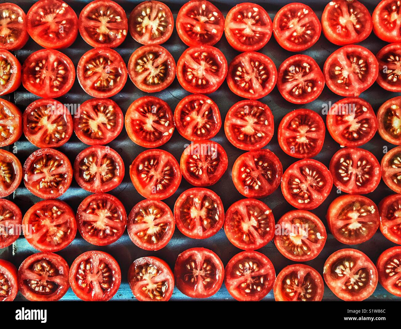 Pomodori ciliegini, su un vassoio da forno pronto per essere tostate in forno Immagini Stock
