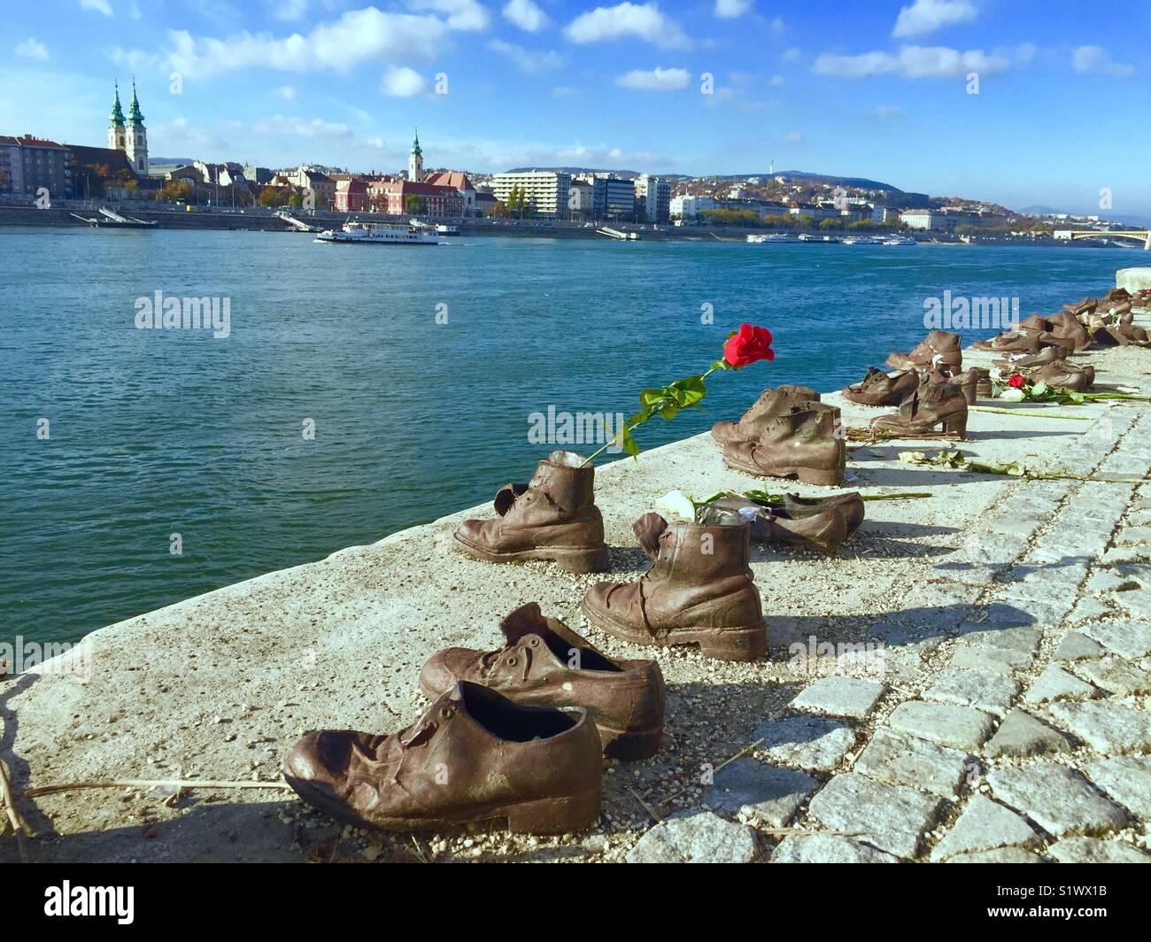 Scarpe sulla sponda del Danubio (Budapest, Ungheria) Immagini Stock