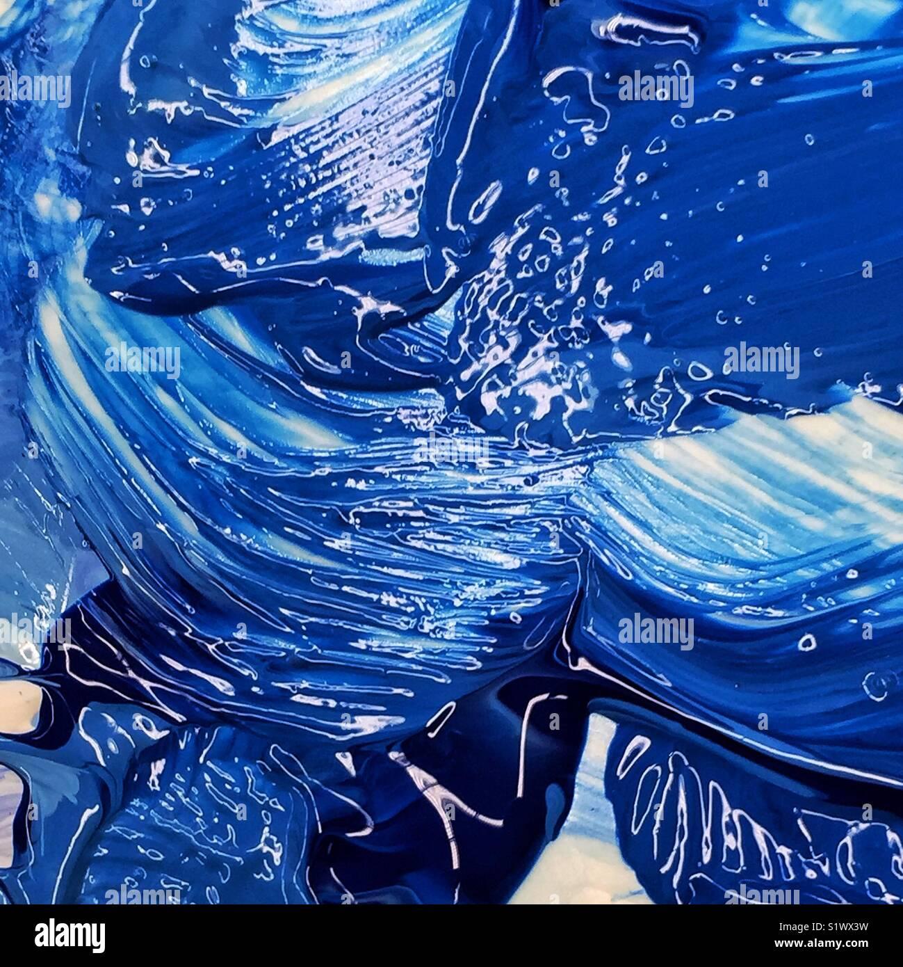 Lucido spesse pennellate di vernice blu oltremare Immagini Stock
