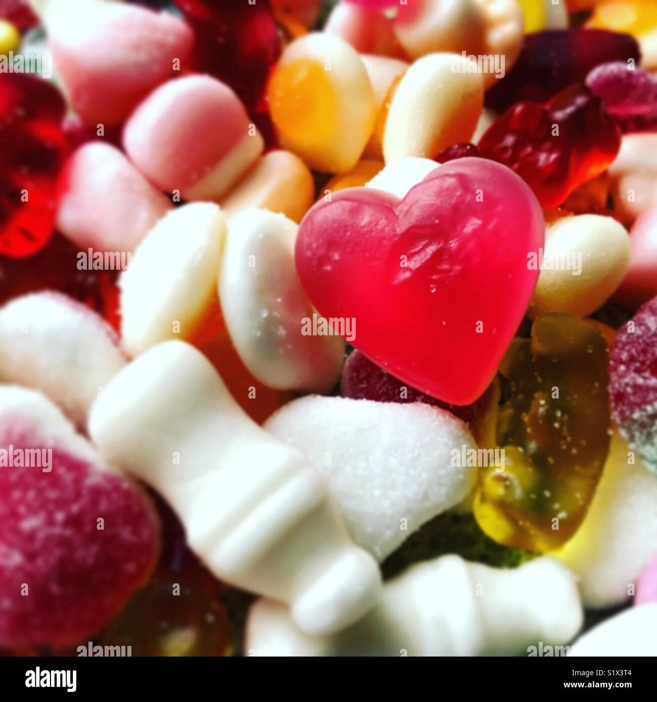 Vista ravvicinata di un cuore dolce di forma Immagini Stock
