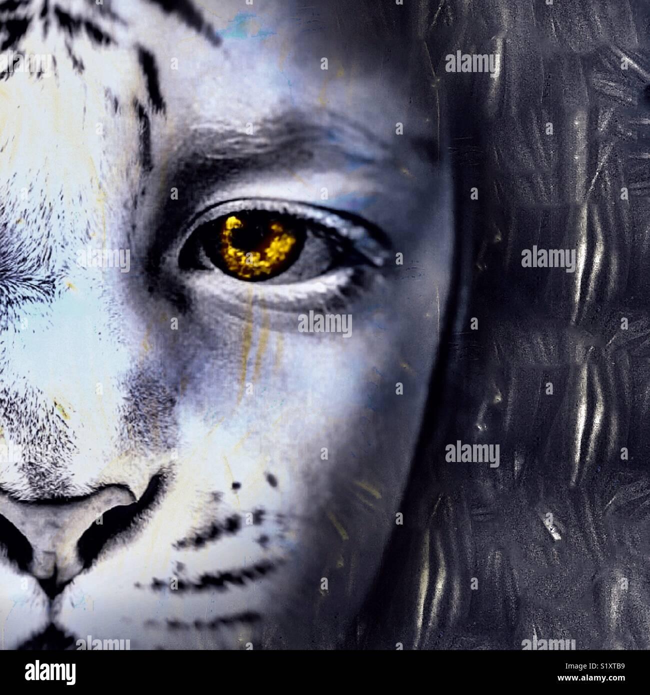 Ragazza di Lion Immagini Stock