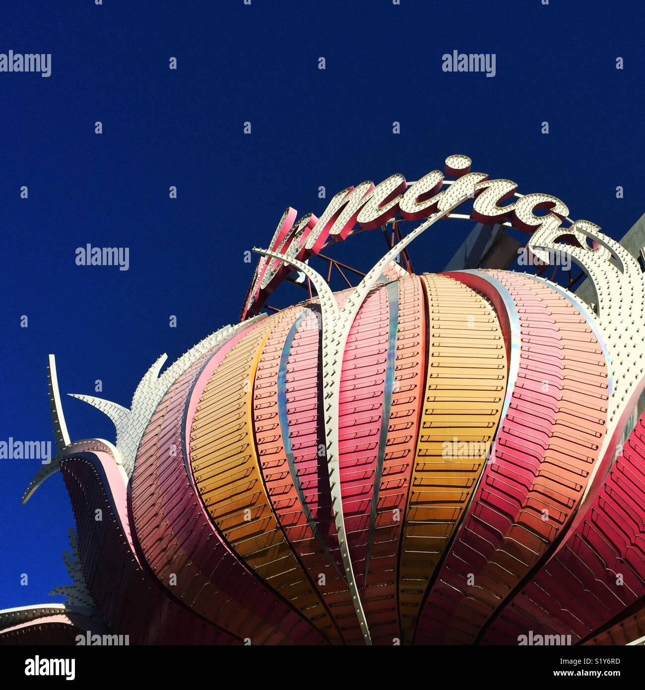 Famoso segno di hotel Flamingo a Las Vegas, Nevada Immagini Stock