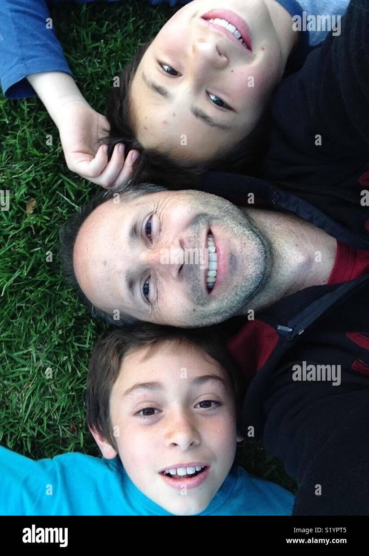 Padre e figli Immagini Stock
