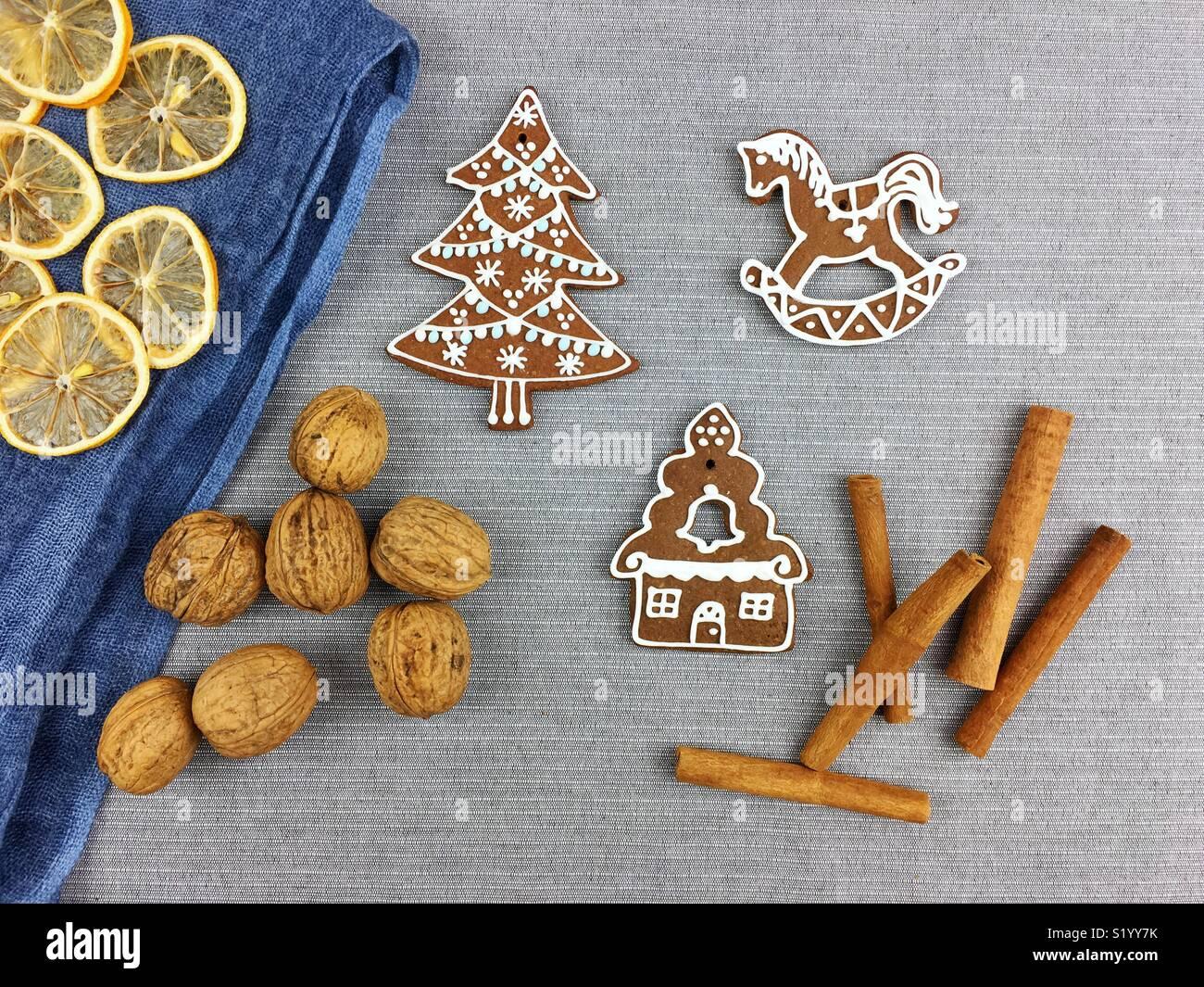Natale gingerbread cookie decorazione Immagini Stock