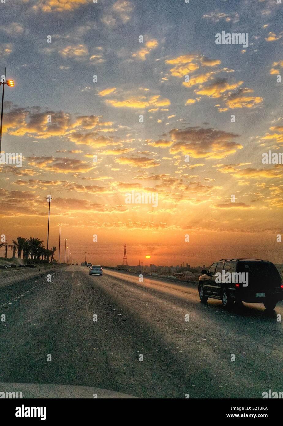 Dammam Road, Riyadh, Arabia Saudita Immagini Stock