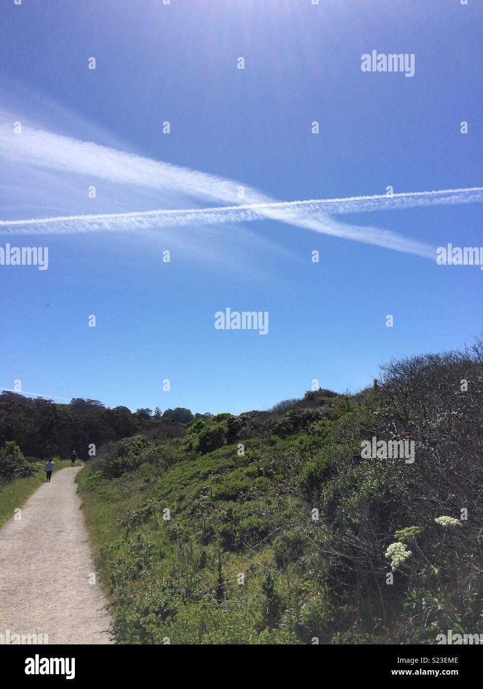 Cielo azul en la Montaña de San Bruno California Immagini Stock