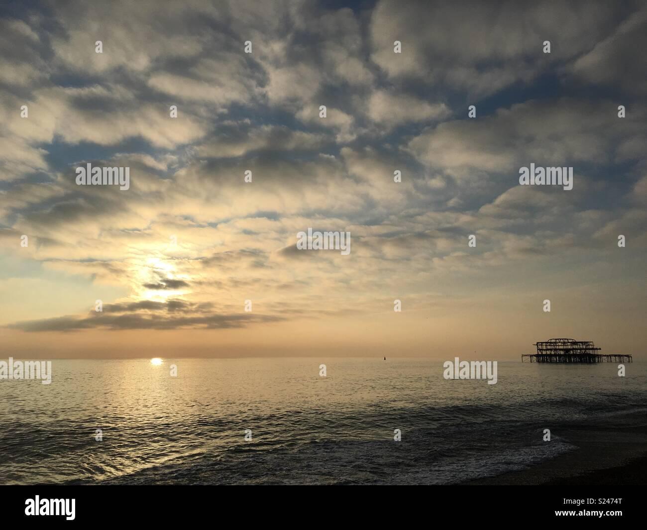 Tramonto di Brighton Immagini Stock
