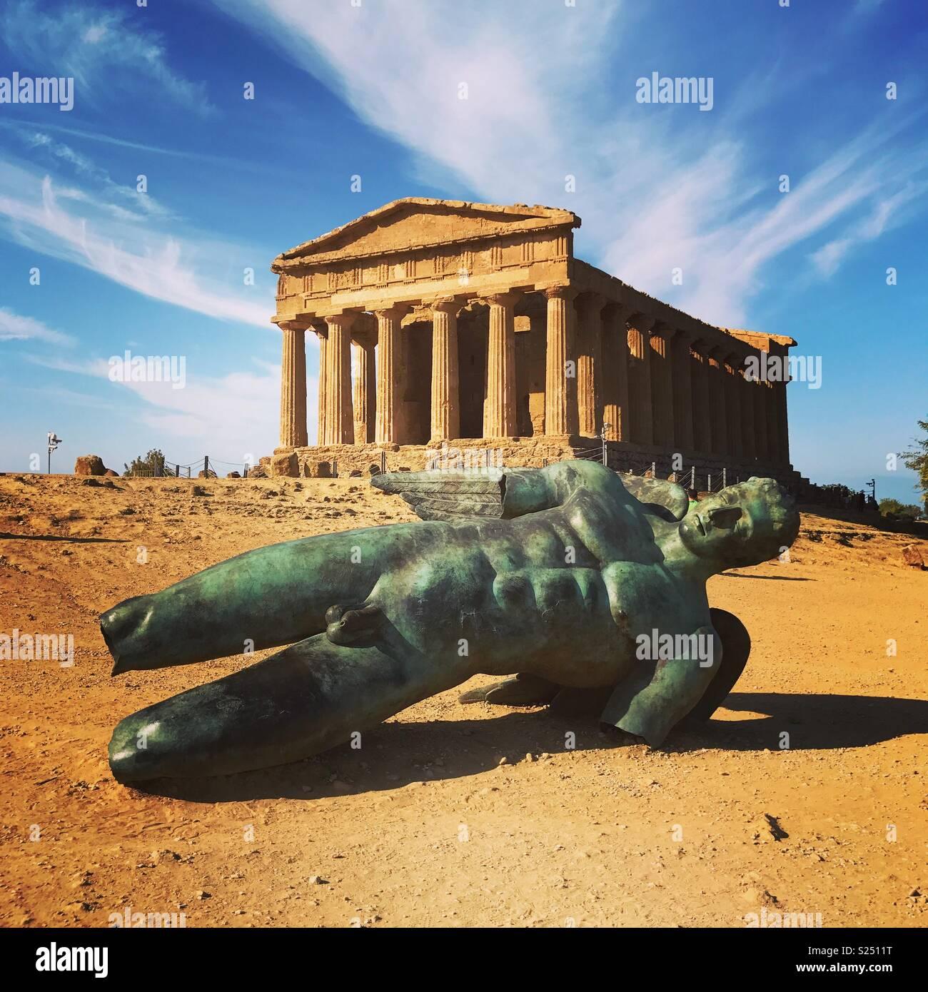 Valle dei Templi e Tempio della Concordia, Sicilia Immagini Stock