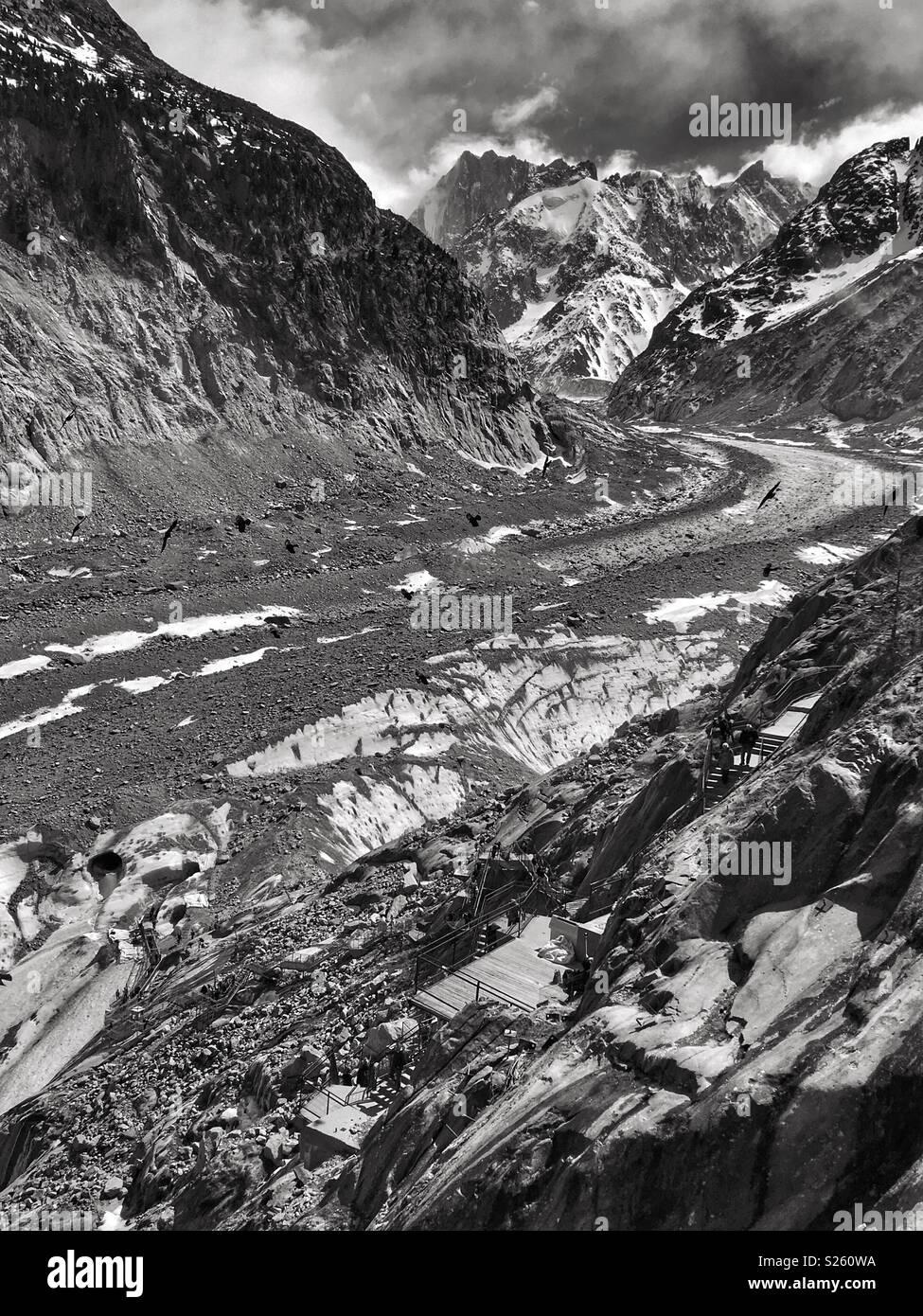 Mer de Glace nelle Alpi francesi Immagini Stock