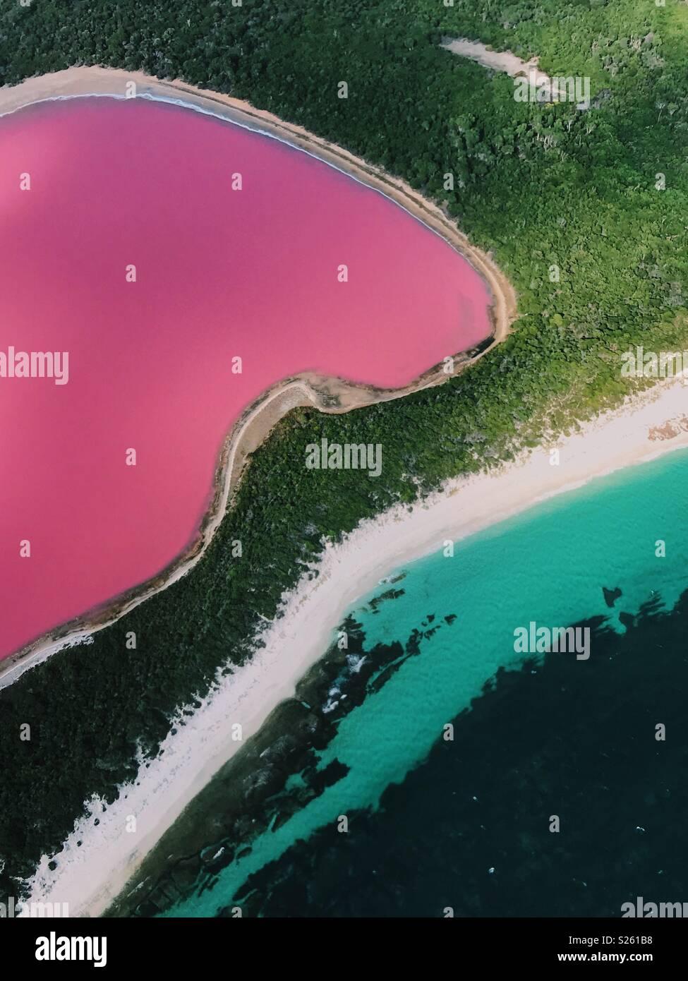 Lago Rosa a Esperance Immagini Stock