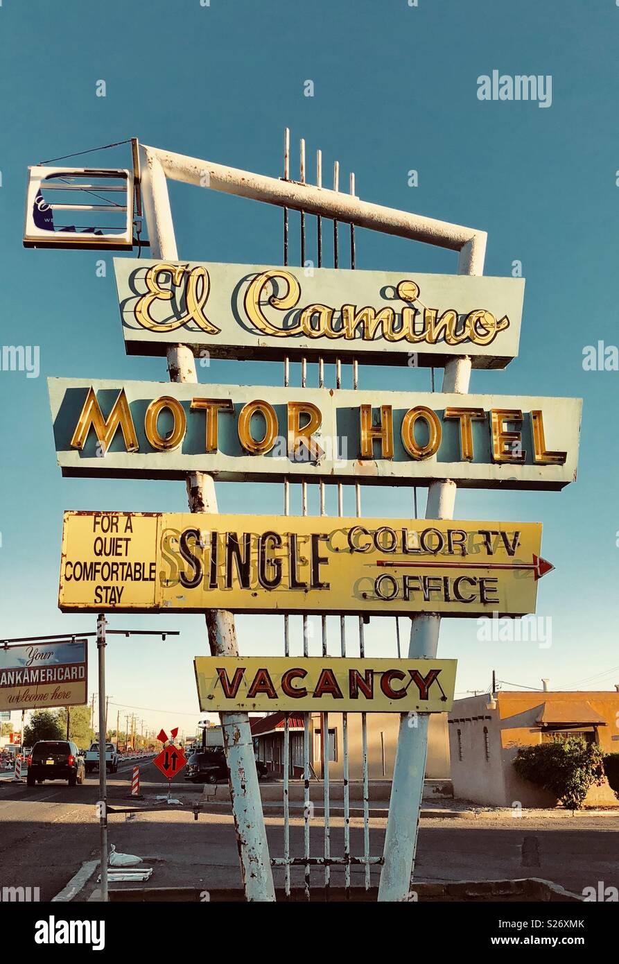 El Camino Motor Hotel Los Ranchos, Nuovo Messico Immagini Stock