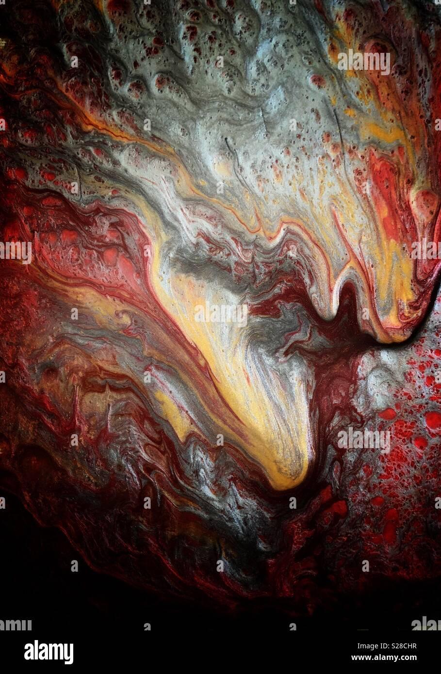 Abstract bagnato effetto vernice su tela Immagini Stock