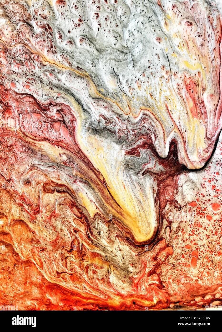 Abstract gorgogliamento di effetto di vernice su tela Immagini Stock