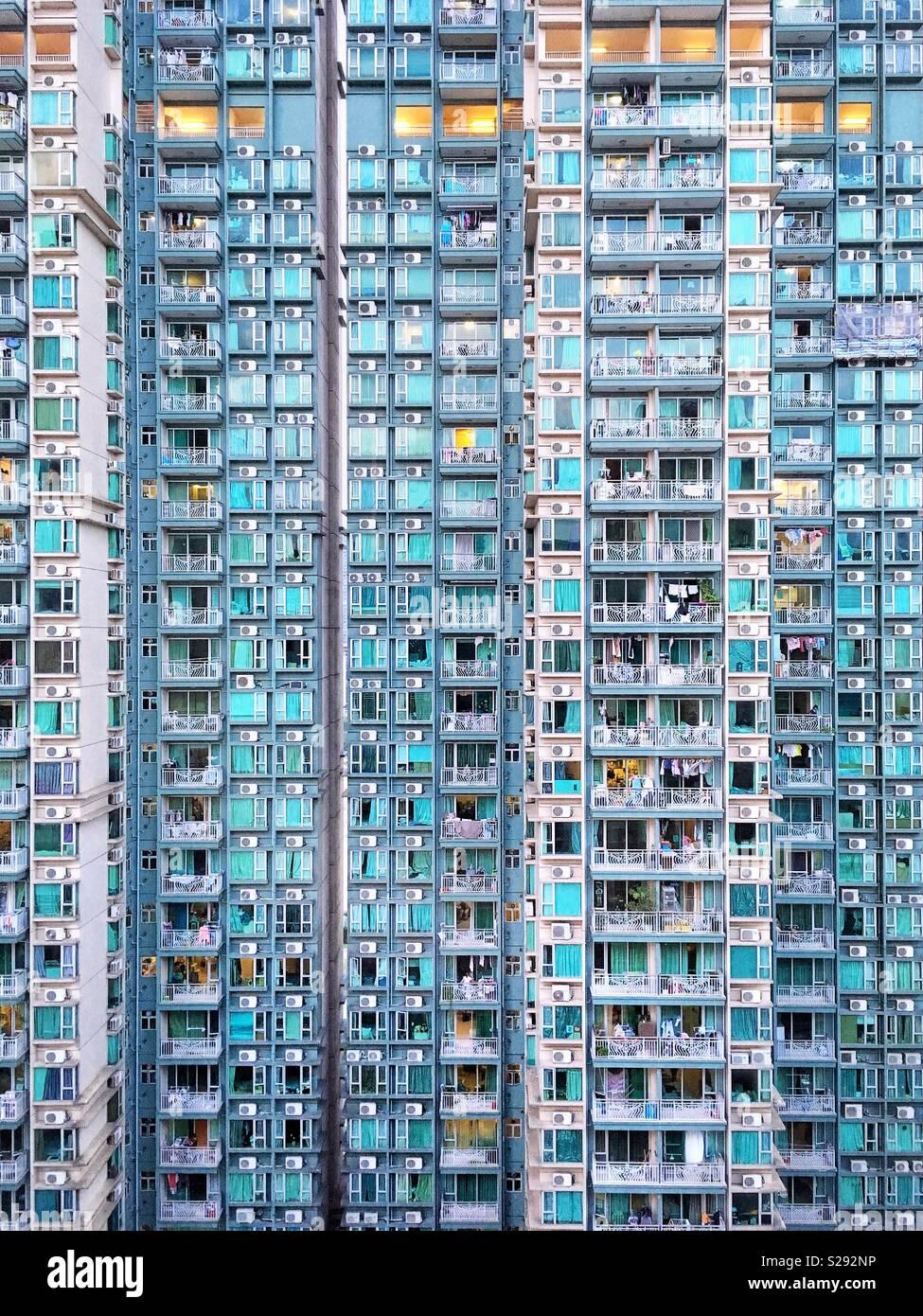 Edificio di appartamenti sfondo astratto in Hong Kong. Immagini Stock
