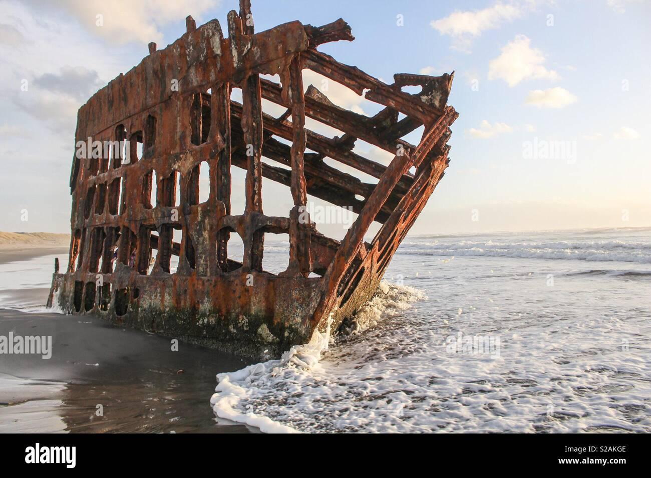 Naufragio sull'Oregon Coast Immagini Stock