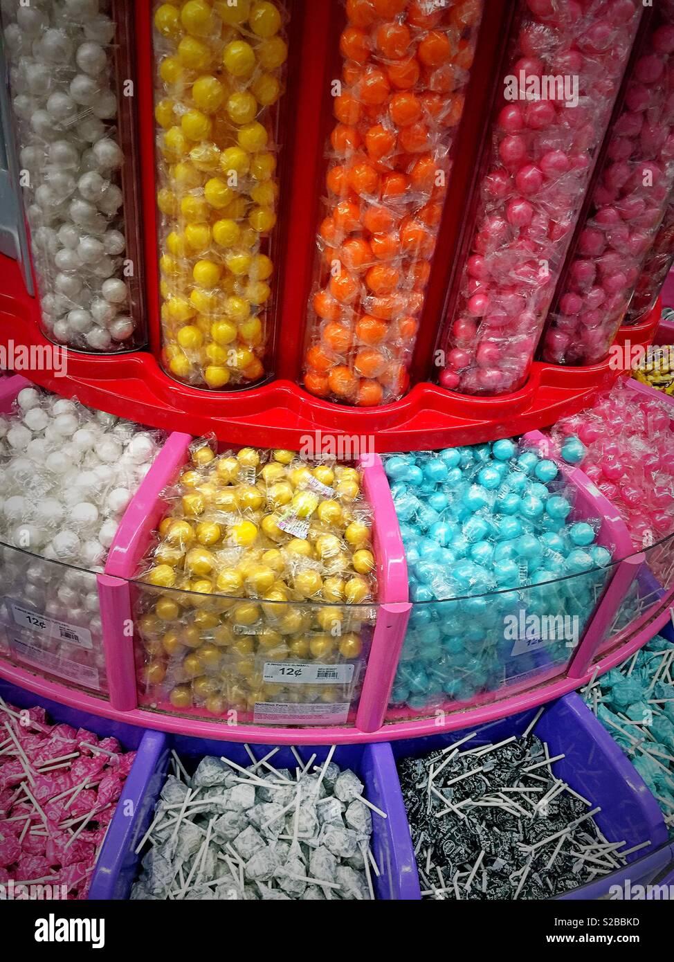 Display di caramella in un negozio al dettaglio, STATI UNITI D'AMERICA Immagini Stock