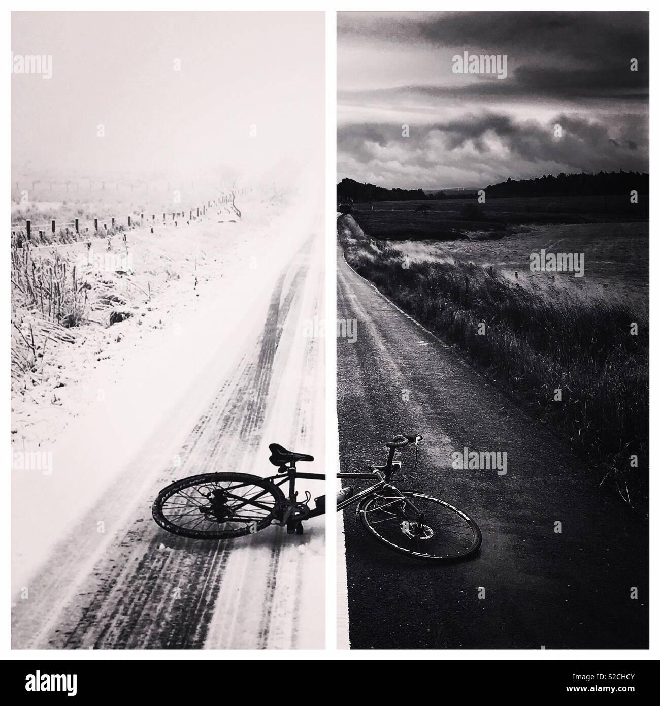 Escursioni in bicicletta attraverso tutte le stagioni Immagini Stock
