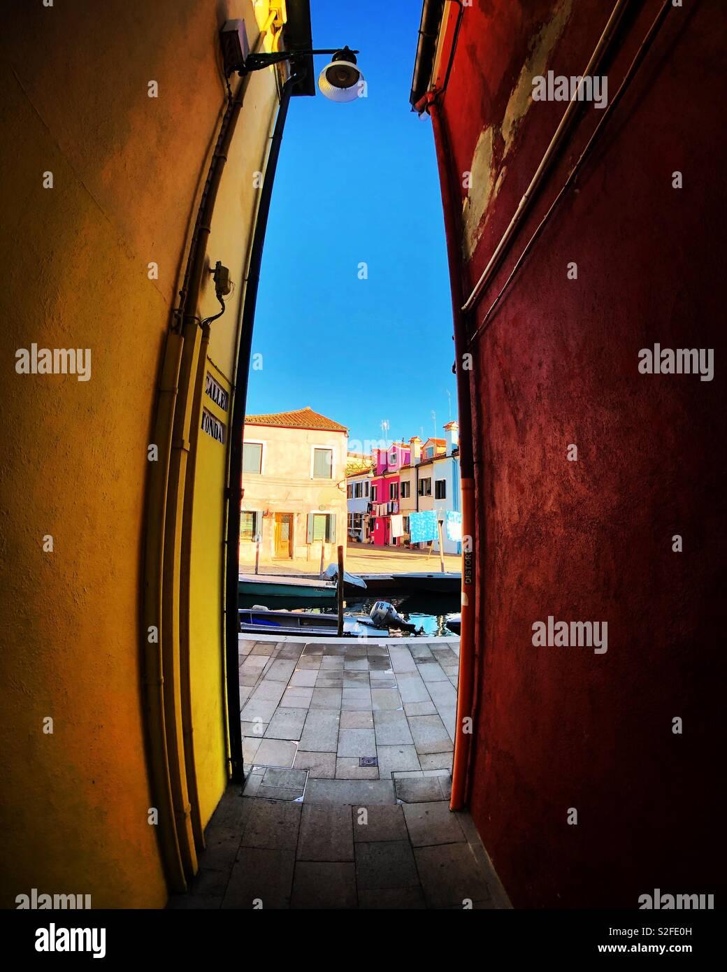 Una vista di Burano Foto Stock