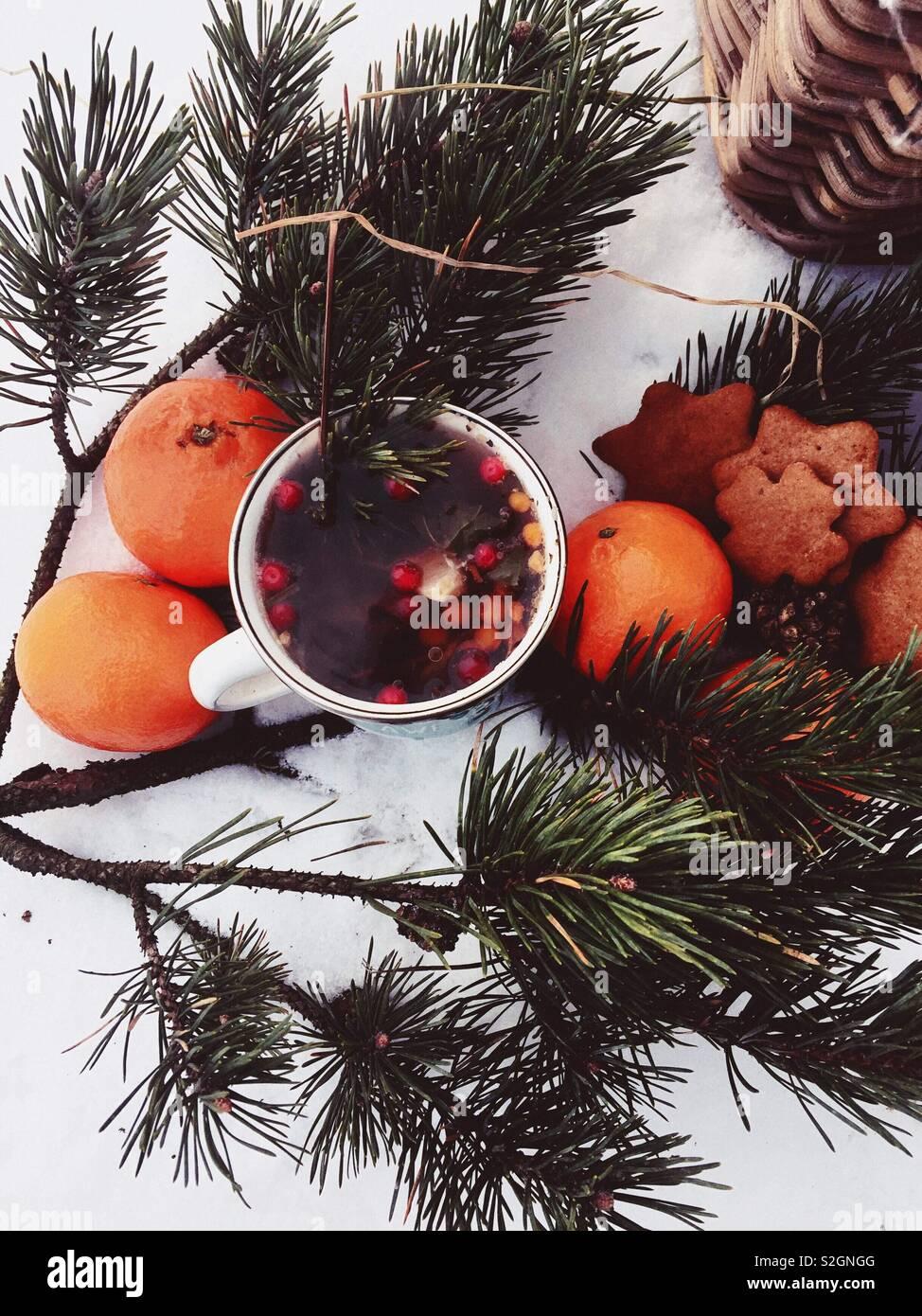 Inverno picnic con tè aromatici, zenzero pane e clementine Foto Stock