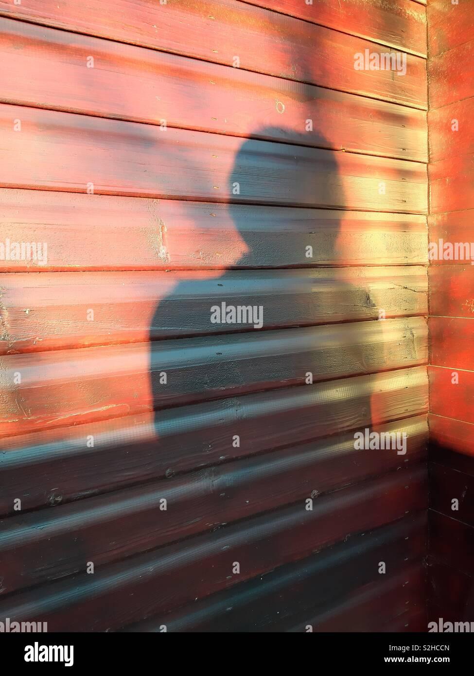Signora della riflessione nel sole del tardo pomeriggio Foto Stock