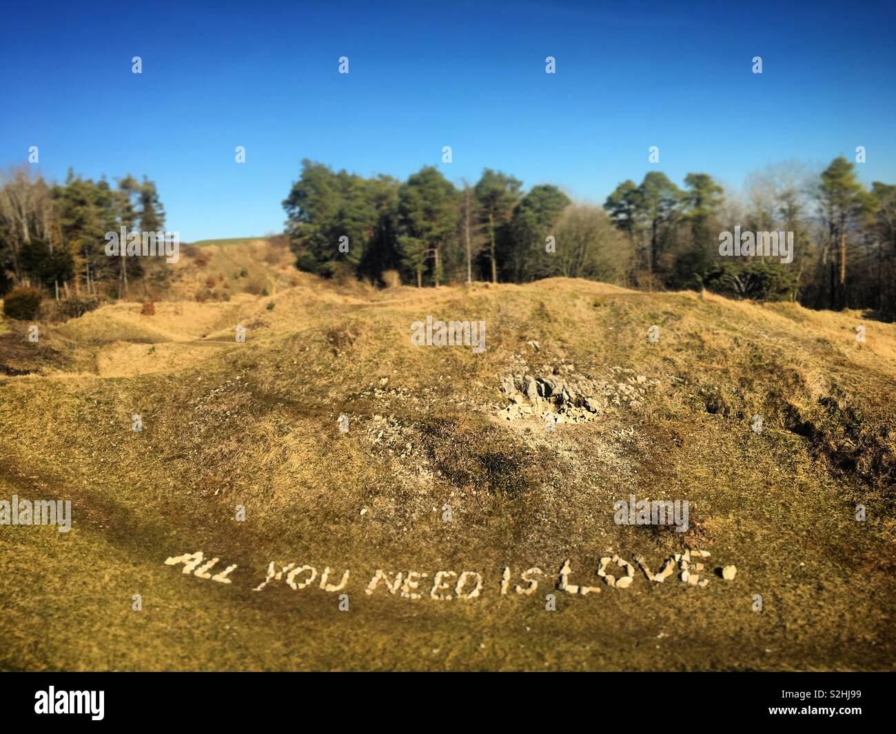Tutto ciò di cui hai bisogno è amore arte in pietra a Painswick Beacon Foto Stock