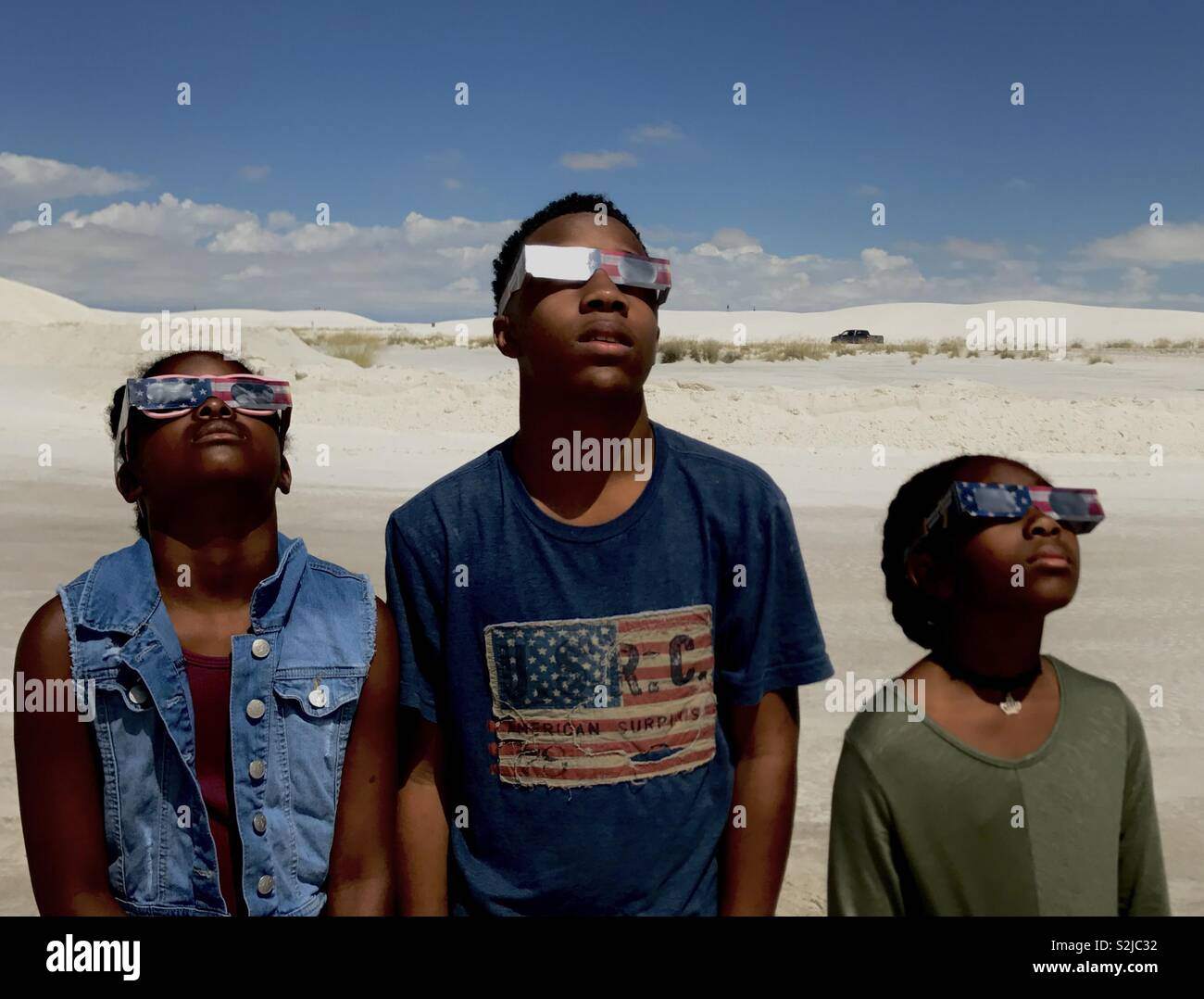 Eclipse del 2017 visto al White Sands National Park, Alamogordo, Nuovo Messico. Immagini Stock