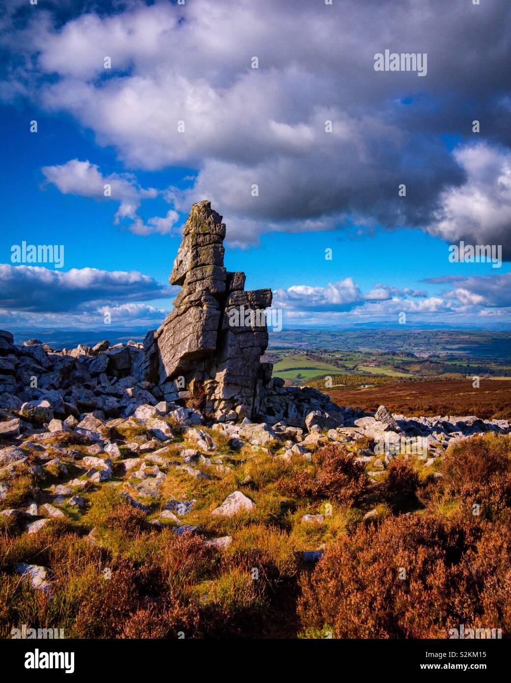 Il Stiperstones Rock formazione in Shropshire Hills Inghilterra REGNO UNITO Foto Stock