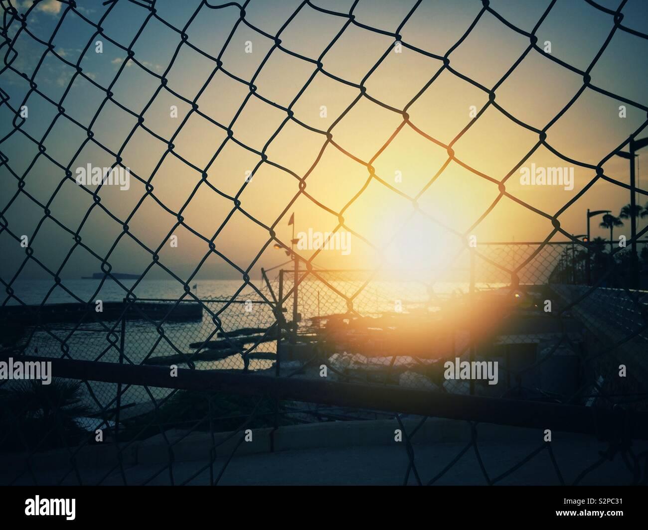 Sunrise nel Mediterraneo Beirut Libano Medio Oriente Foto Stock