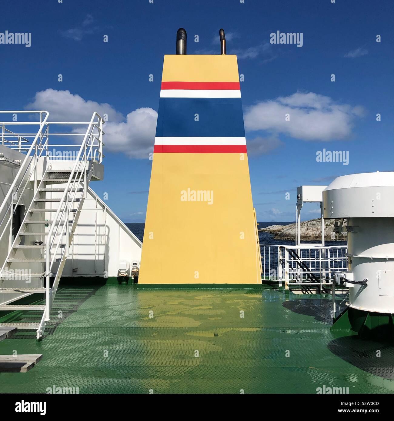 Ponte di un traghetto norvegese Foto Stock