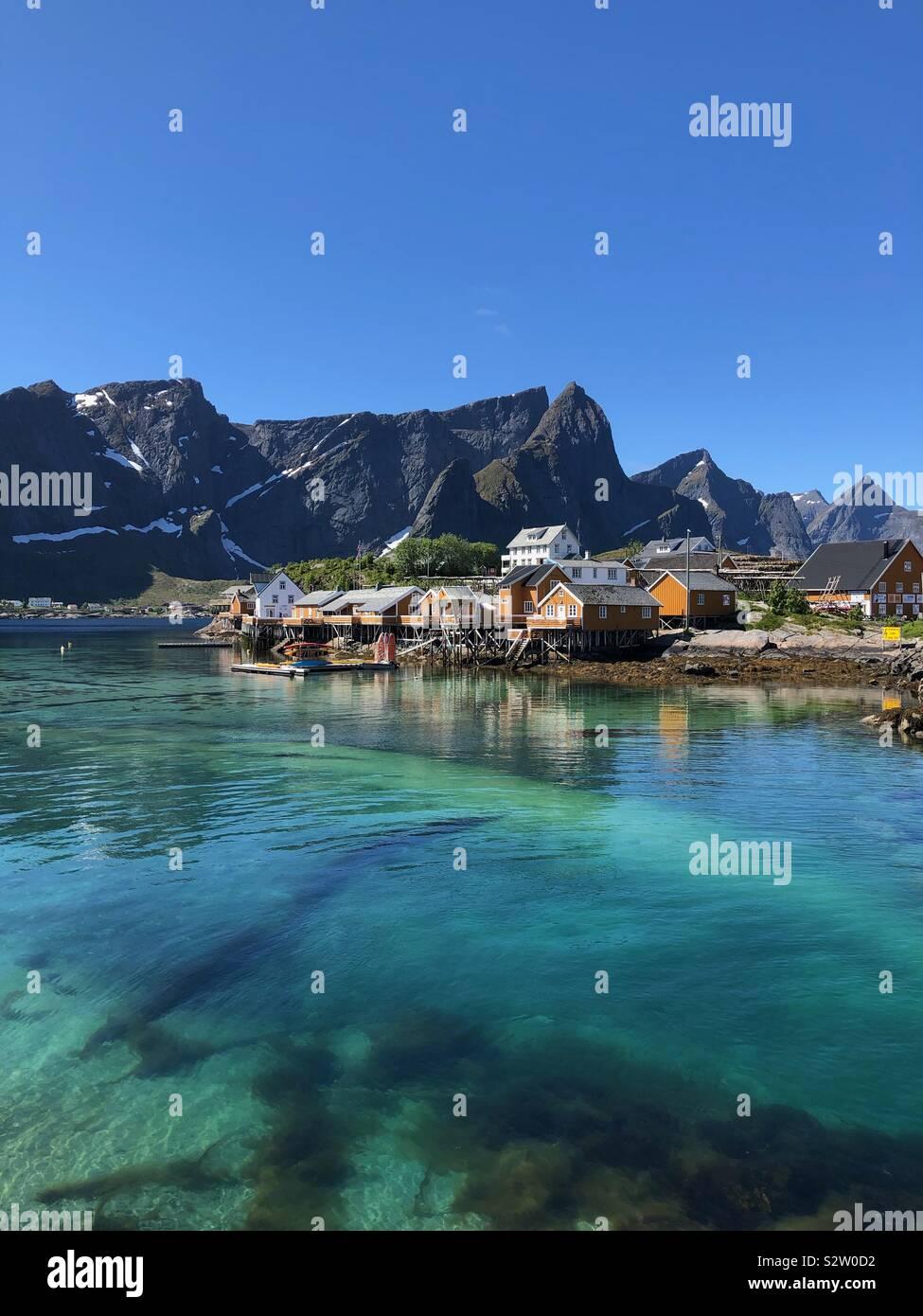 Hamnoy nelle Isole Lofoten in Norvegia. Foto Stock