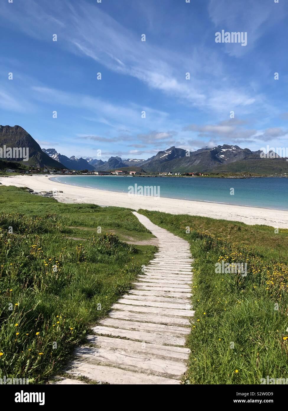 Ramberg beach, Isole Lofoten in Norvegia Foto Stock