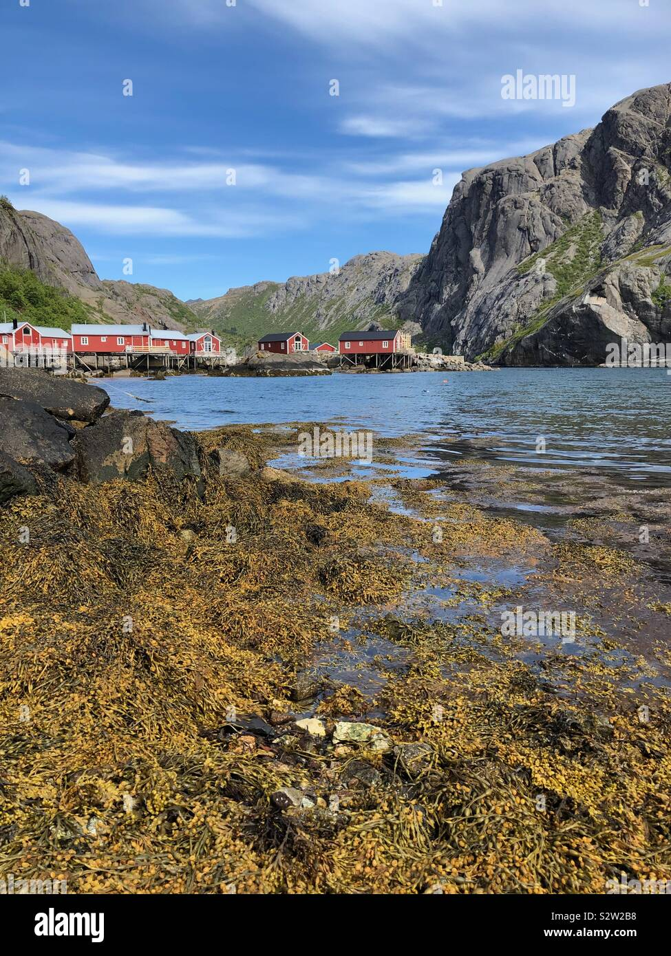 Nusfjord, Isole Lofoten in Norvegia Foto Stock