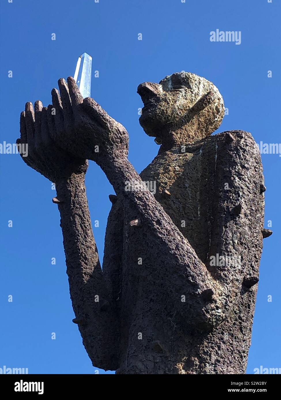 L uomo dal mare la scultura a Bo, Langsoya, Nordland, Norvegia. Foto Stock
