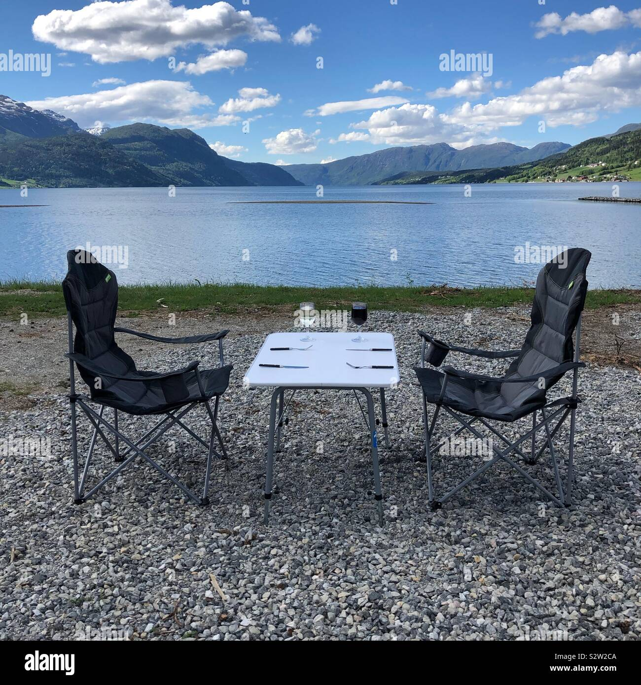 Tavolo con vista, Norvegia Foto Stock