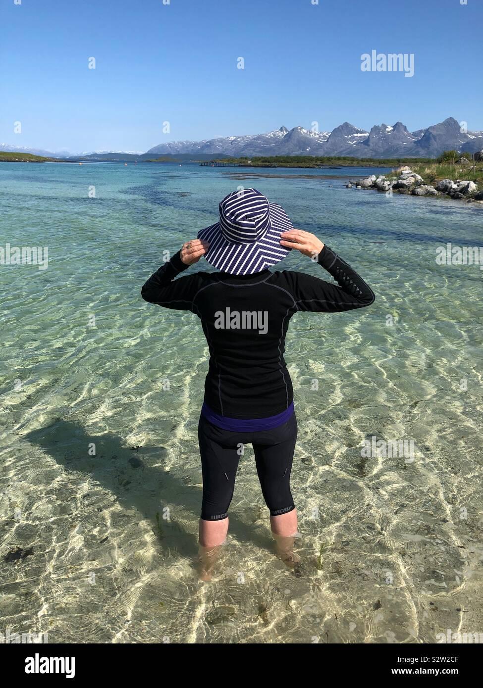 Un estate tuffo, Heroy Isola, Norvegia Foto Stock