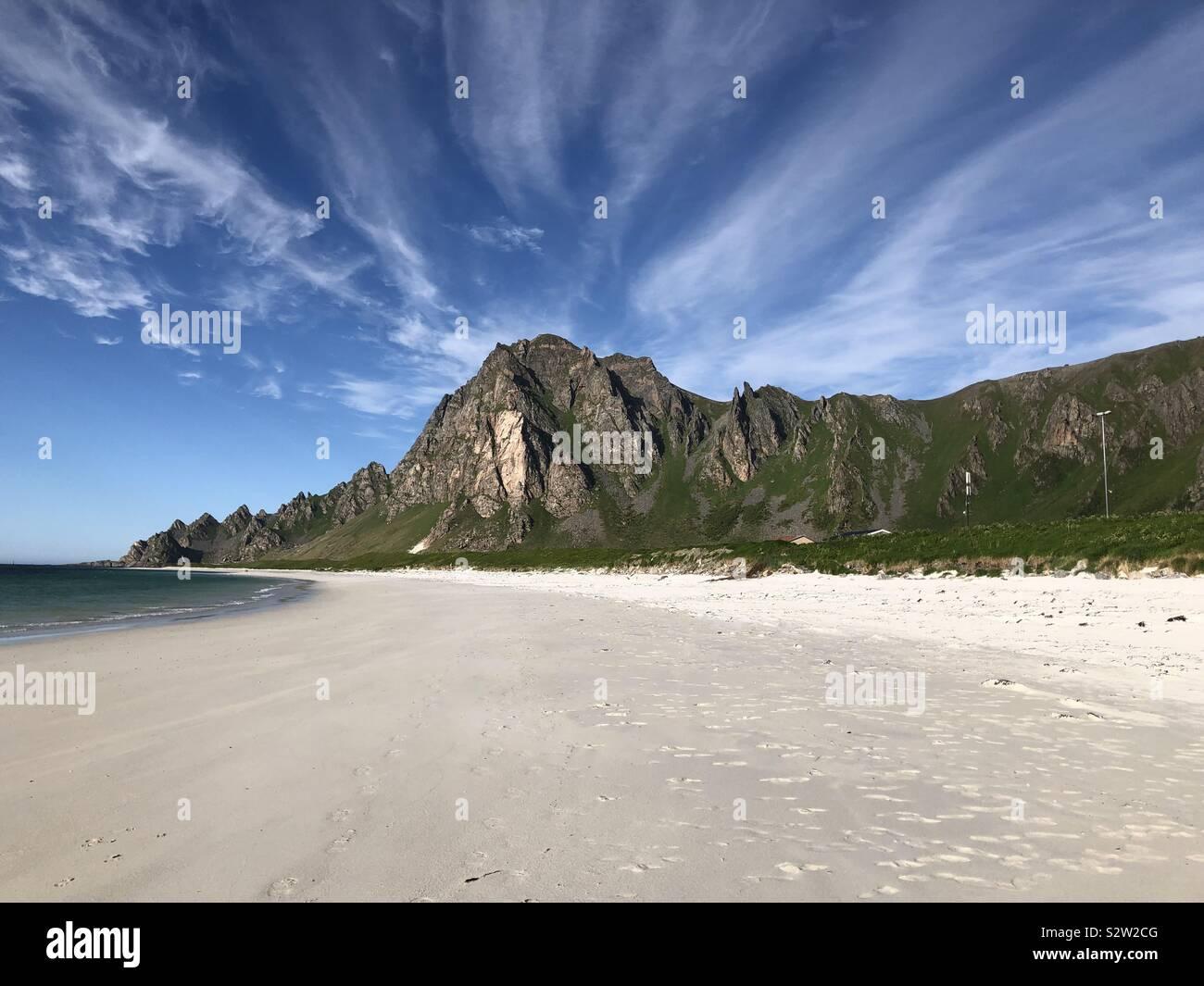 Bleik beach, Andenes, Andoya, Norvegia Foto Stock
