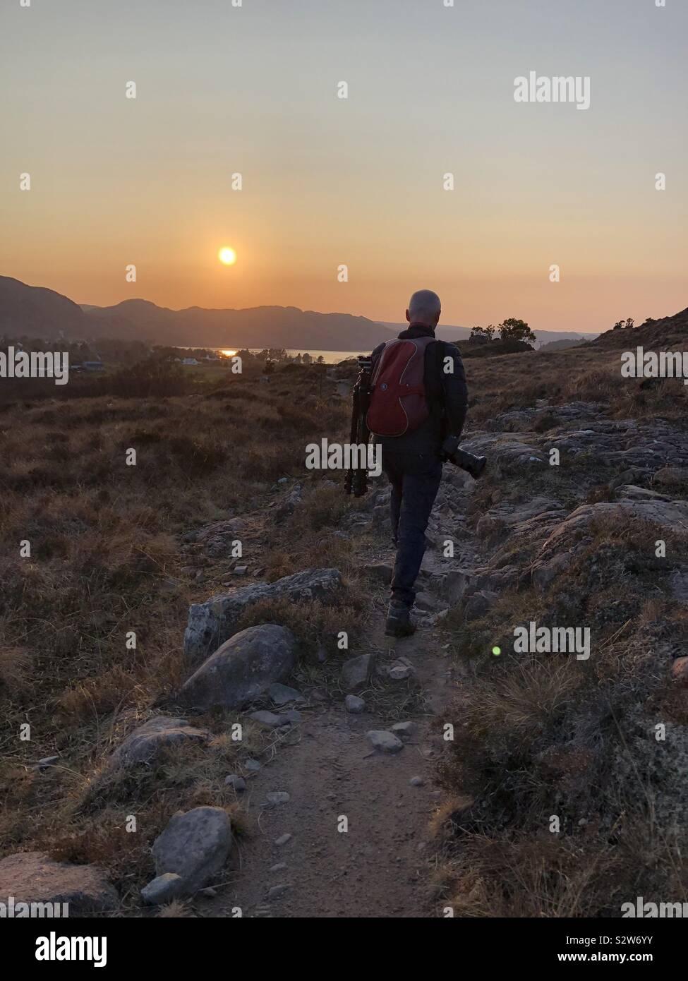 Tramonto scozzese, a Poolewe, Scozia Foto Stock