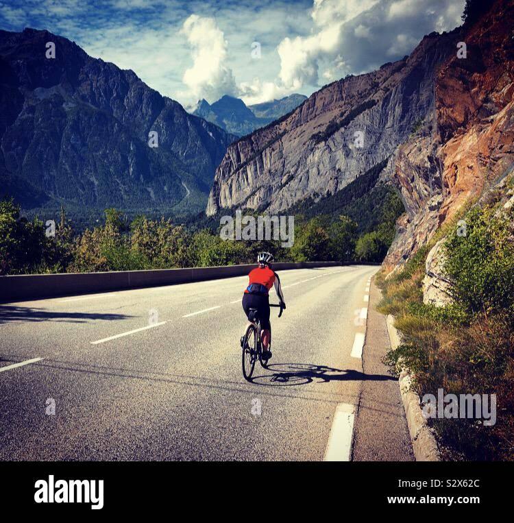 Scendendo Alpe d'Huez Foto Stock